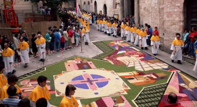 Infiorata tradition: the mosaics of flowers Umbrian village